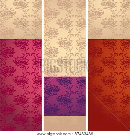 Classical oriental flower pattern vertical banners
