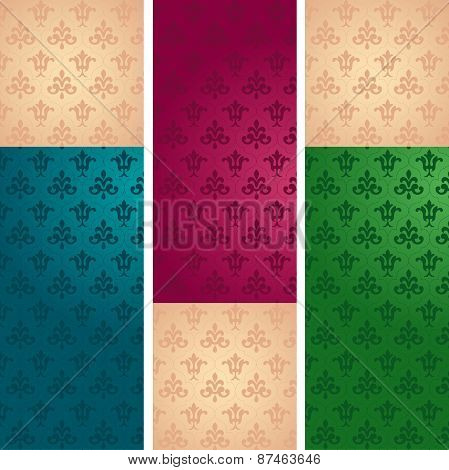Classical floral pattern vertical banners