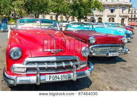 HAVANA,CUBA - APRIL 3, 2015 : Classic american cars parked in Old Havana