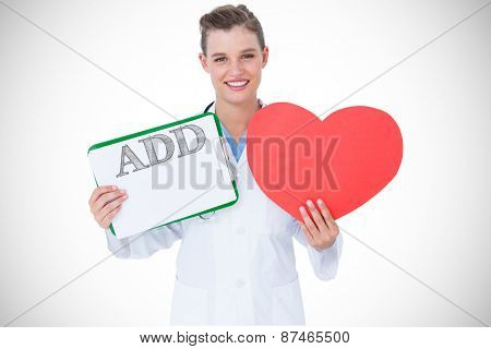 The word add against happy doctor holding clipboard and heart card