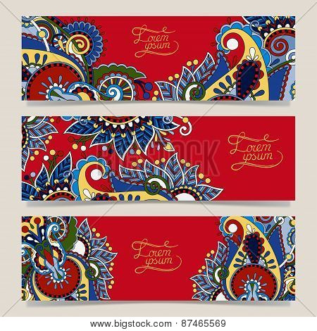 Set of three red horizontal banners with decorative ornamental f
