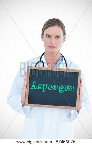 The word asperger against doctor showing chalkboard