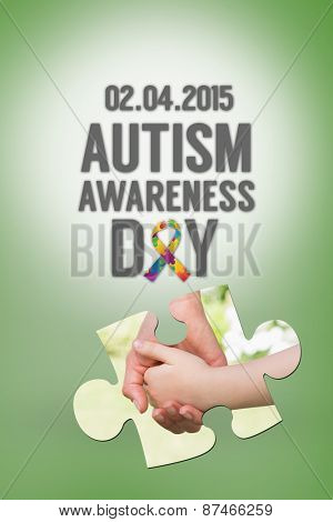 Autism awareness day against green vignette