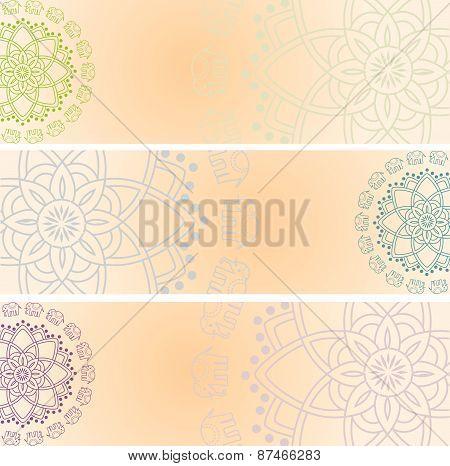 Henna elephant mandala horizontal banners