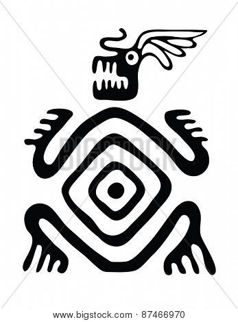 black monster in native style, vector illustration