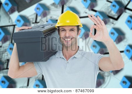 Worker carrying tool box on shoulder while gesturing OK sign against blue 3d houses in an estate order