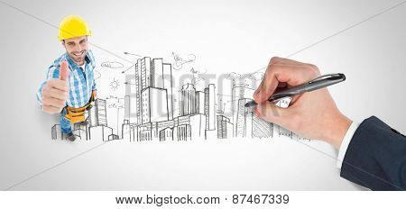 Hand writing with a pen against city plan