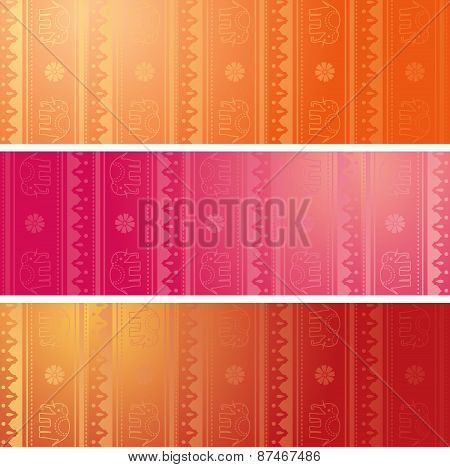 Indian henna elephant horizontal banners