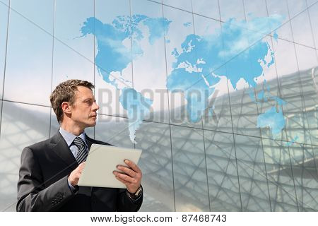 Business Man With Tablet World Map Clouding Computing Global Communication Concept