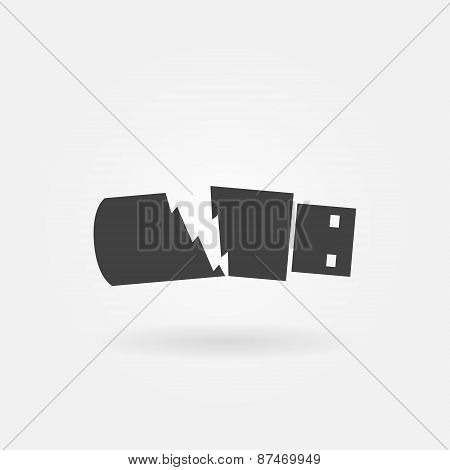 Broken USB flash drive vector icon