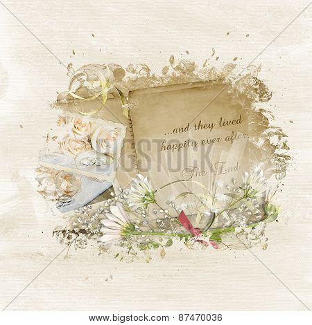 Wedding scrapbook and daisy bouquet