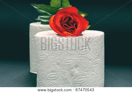 White Toilet Paper With Red Rose