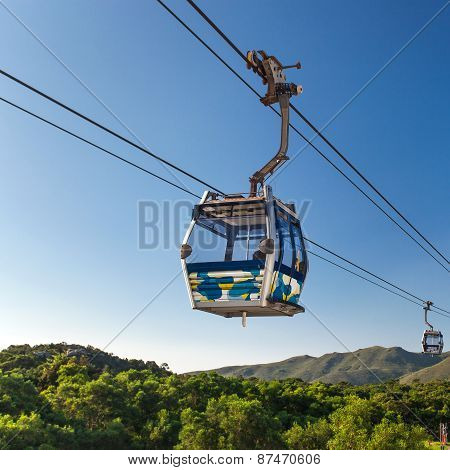 Cable Car At Mountains