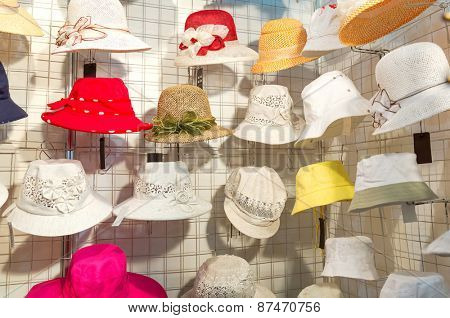 Colorful female summer hats