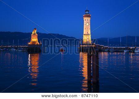 Lake Constance, Lindau Harbor Entrance And Lighthouse