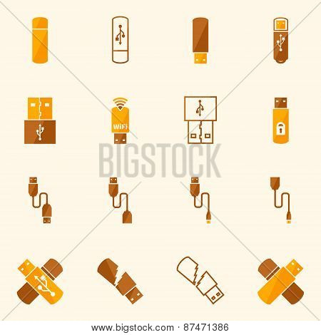 USB icons flat yellow vector set