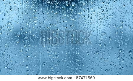 Raindrops On The Window. Blue Tone