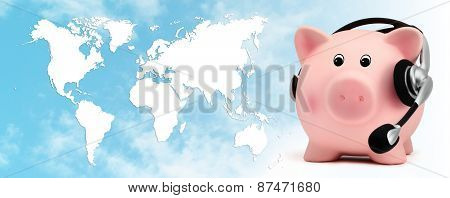 piggy bank with headset on blue sky planet map background