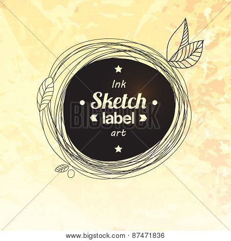 Floral Drawing Splash Elements Label Concept