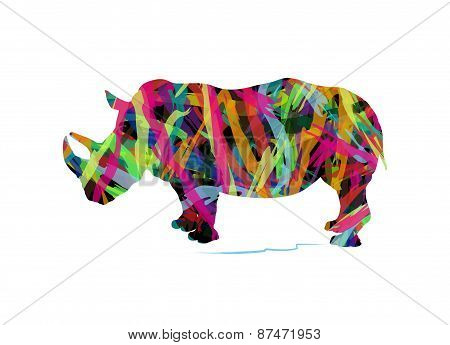 abstract silhouette of rhinoceros