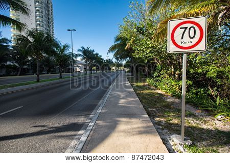 Seventy Kilometers Per Hour Speed Limit On Tropical  Road