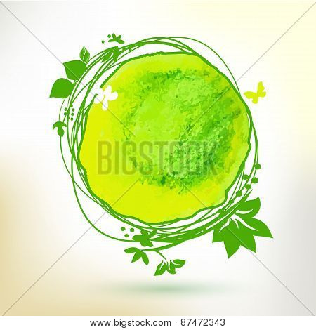 Green Watercolor Hand Drawing Sunny Label