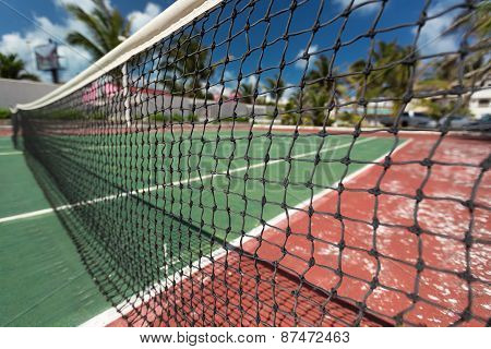 Outdoor empty tennis court. Nobody
