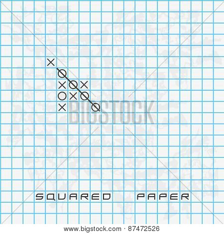 Old Blue Squared Paper Background With Noughts And Crosses Eps10
