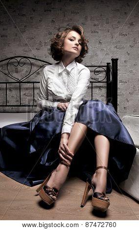 Beautiful woman in long skirt