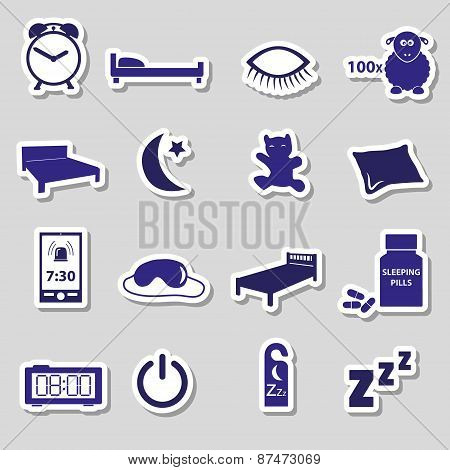 Sleeping Time Blue Stickers Symbols Set Eps10