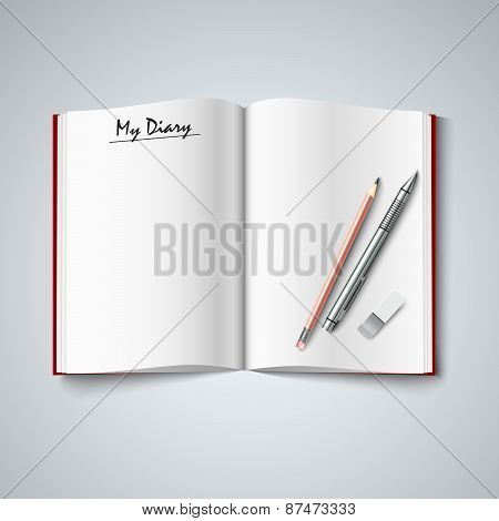 Blank Diary Were Pages And Pencil