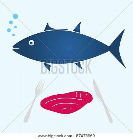 Big Tuna Fish And Tuna Meat Food Eps10