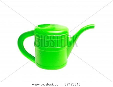 Green Plastic Watering Can Isolated On White