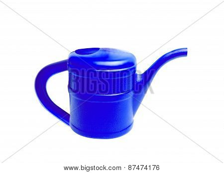 Blue Plastic Watering Can Isolated On White