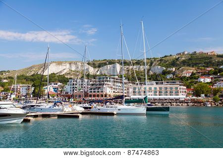 Pleasure Yachts And Boats Are Moored In Marina Of Balchik