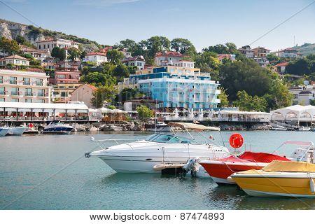 Pleasure Boats Are Moored In Marina Of Balchik, Bulgaria