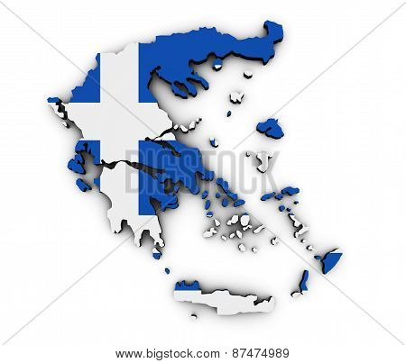Greece Map Flag Shape
