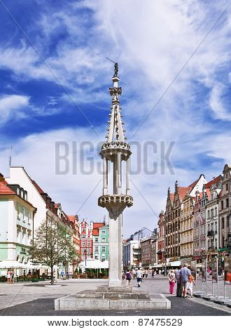 Nowadays The Stone Pillory On The Market Square  In Wroclaw Poland