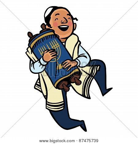 Funny Cartoon Dancing Jewish Boy. Vector Illustration