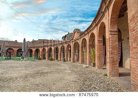 Piazza Nuova, Ancient Elliptical Square In Bagnacavallo, Ravenna, Italy