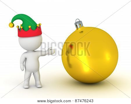 3D Character with Elf Hat Showing Golden Globe