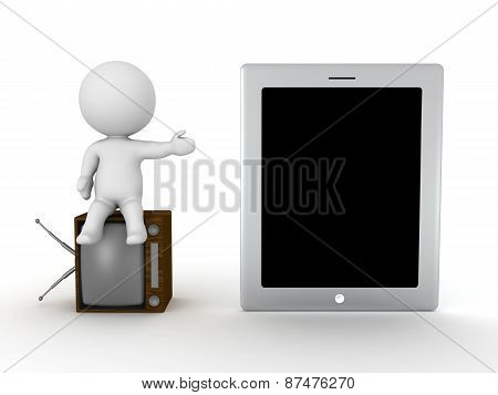 3D Character sitting on old TV, showing Tablet