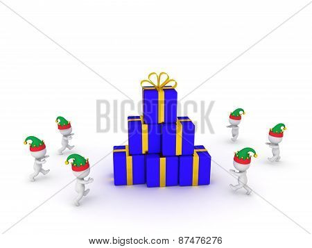Many 3D Characters Wearing Elf Hats Running Toward Stack of Wrapped Gifts