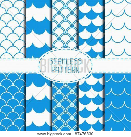 Set of seamless retro vintage blue marine geometric line pattern. Tiling. Collection of wrapping pap