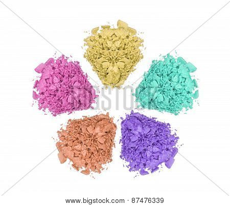 Crushed Color Eyeshadows Isolated On White