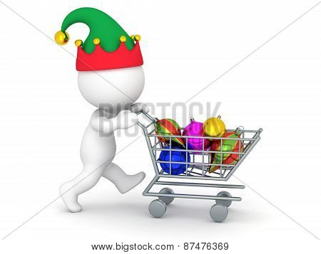 3D Character with Shopping Cart Buying Colorful Globes