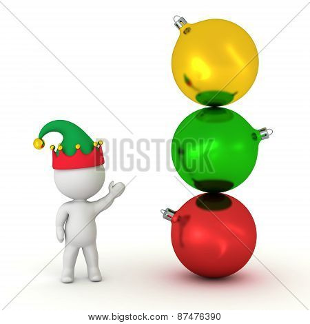 3D Character with Elf Hat Showing Stack of Globes