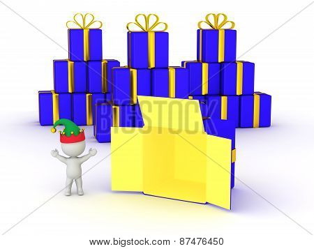 3D Character with Elf Hat happy and open gift box