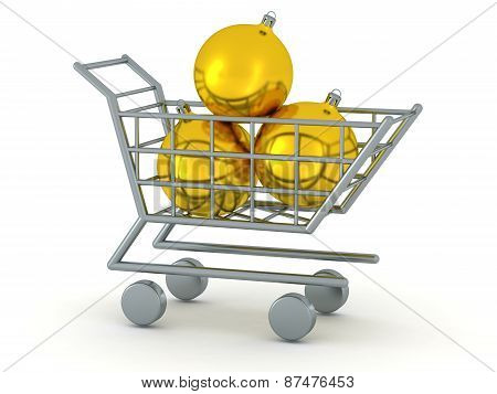 3D Shopping Cart with Three Golden Globes