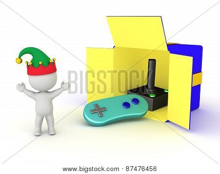 3D Character Happy and Gift Box with Video Game Controller